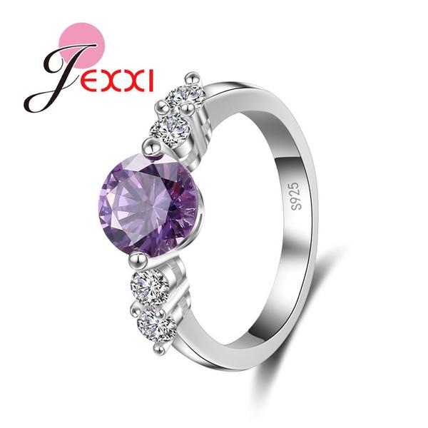 Jemmin Factory PrRound Purple Austrian Crystal Wedding Engagement Rings For Women Hot 925 Sterling Silver Finger Ring Bijoux
