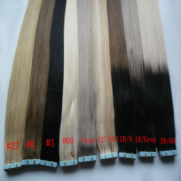 Tape In Human Hair Extensions 40pcs 100g Tape Human Hair Extension Straight Brazilian PU Skin Weft Hair