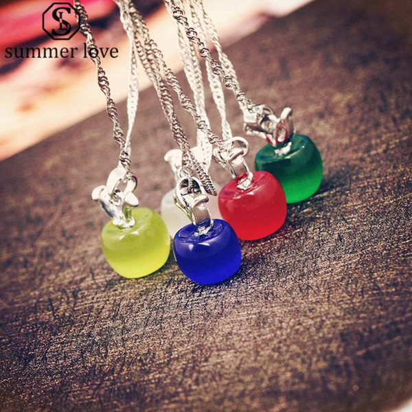 2018 Crystal Apple Pendant Necklace Opal Pendant Silver Link Chain Fruit Necklace for Women Girl Fashion Jewelry Gift