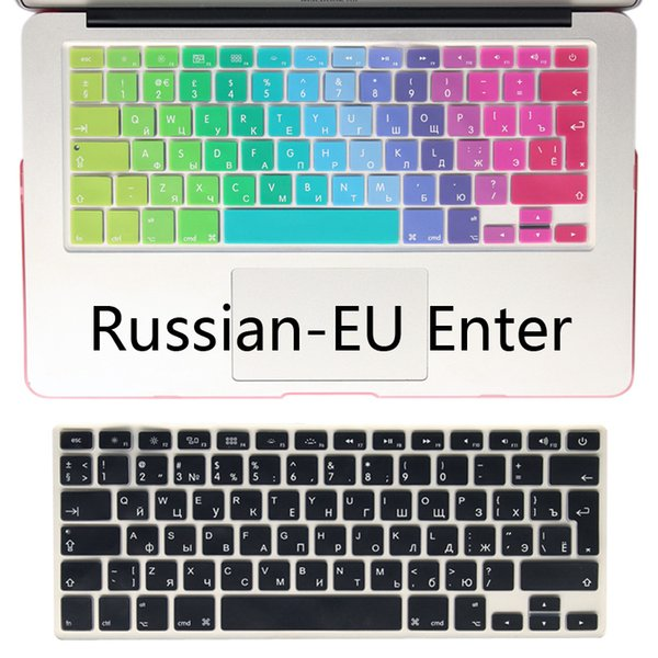Silicone EU/UK Russian alphabet Keyboard Cover Stickers Protector for MacBook .3 Mac Book Air13 inch