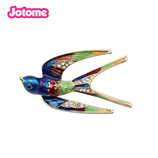 Gold Tone Colorful Enamel Swallow Bird Animal Pin Brooch