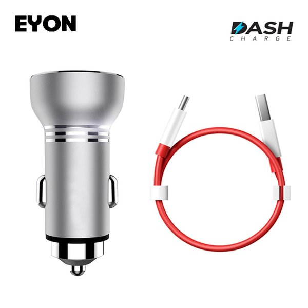 EYON Metal USB Dash Charge Car Charger with LED Display For OnePlus 5 3T 1+3 Original One Plus Type C Dash Fast Charging Cable