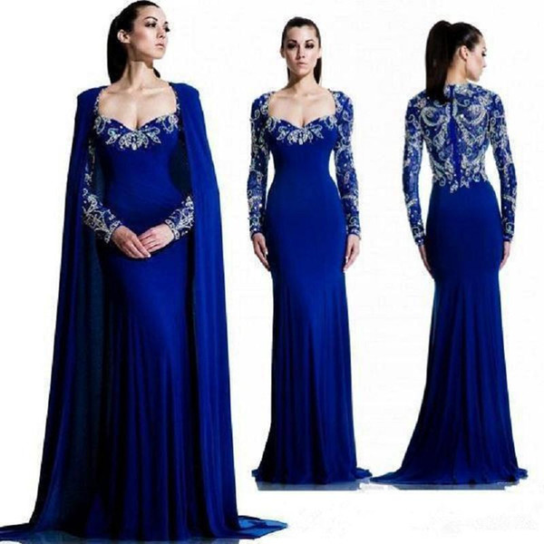 Fitted Royal Blue Evening Dresses Saudi Arabia With Cape Beaded Lace Long Sleeve Prom Dresses Vintage Muslim Dubai Formal Party Gowns 2019
