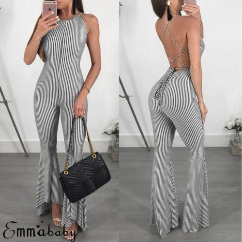 Sexy Women Clubwear Sleeveless Playsuit Bandage Bodysuit Party Jumpsuit Backless Romper Long Trousers