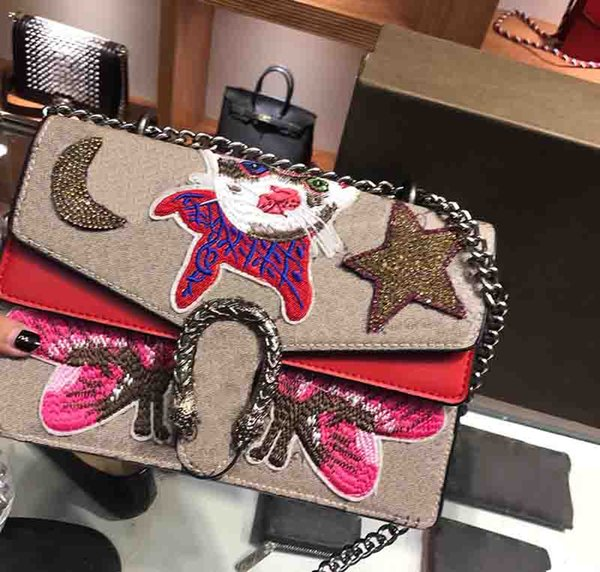 Suede shoulder bags luxury designer handbags leather crossbody bag Cat embroidered bags fashion brands star Diamond women bags 2018 sac