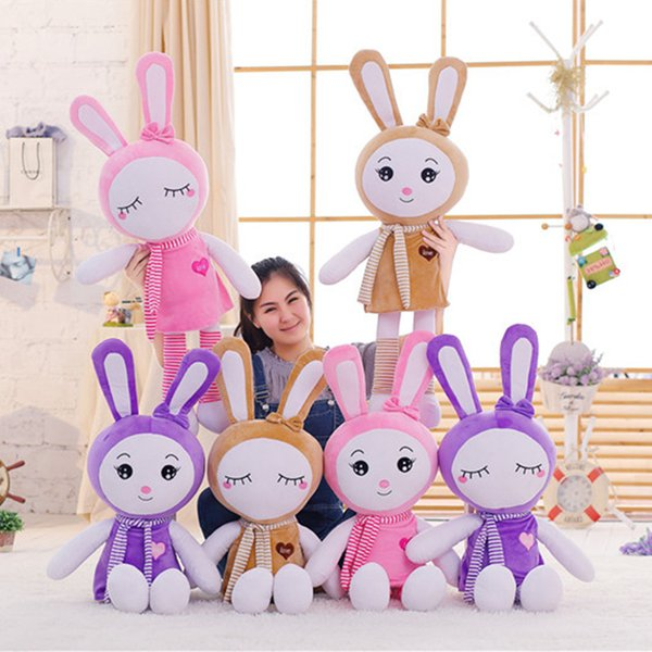 1pcs 100cm Pretty Rabbit With Scarf Plush Toys Stuff Animal Doll Christmas Birthday Gift Dolls For Girlfriend Kids Children