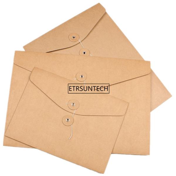 Brown Kraft Papel A5 / A4 Documento Titular Saco De Armazenamento De Arquivo de Bolso Envelope Em Branco com Cordas de Armazenamento Bloqueio de Abastecimento de Escritório Bolsa