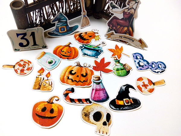 22pcs auto-hecho manual pegatinas lindo kawaii halloween pegatinas divertidas pegatinas decorativas scrapbooking diy artesanía álbumes de fotos
