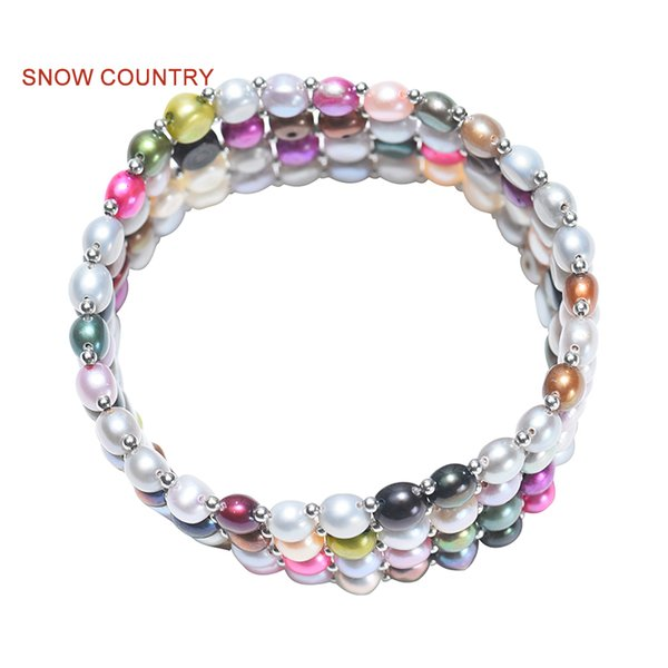 SNOW COUNTRY Button Round Natural Freshwater Multicoloured Pearl Elastic Bracelets For Female Gift Fashion Jewelry Free Shipping