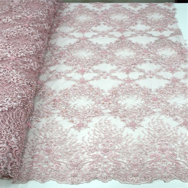 3D Applique African Lace Fabric, Beautiful Pink Embroidered Tulle Lace Fabric, Handmade Beaded Heavy Lace H485-2