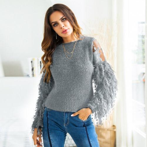 Ladies Casual Solid Pullover Top Women Autumn Sexy Lace Long Sleeve Round Neck Tassel Knitted Sweater