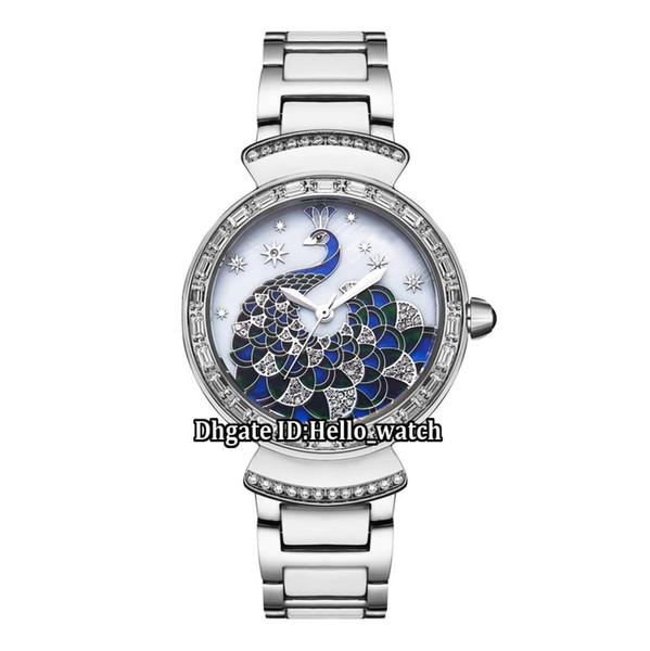 New Divas' Dream 102741 3D Peacock Conch Dial Swiss Quartz Womens Watch Diamond Bezel Two Tone Ceramic Bracelet Fashion Lady Watches
