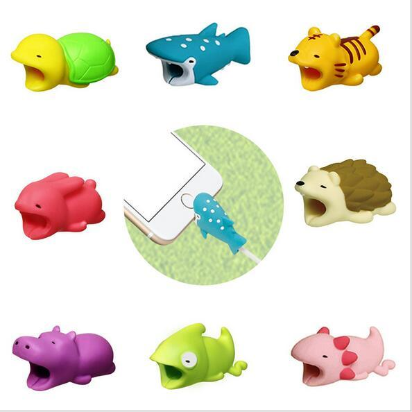 Cavo di morso di animale morso 36styles cavo di accessori Protector giocattoli cavo morde cane maiale elefante Axolotl Coniglio Tiger per iPhone smartphone