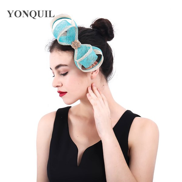 Women cute turquoise&beige bow sinamay flower Fascinator ladies hair accessories wedding Hair clips party floral headband SYF400