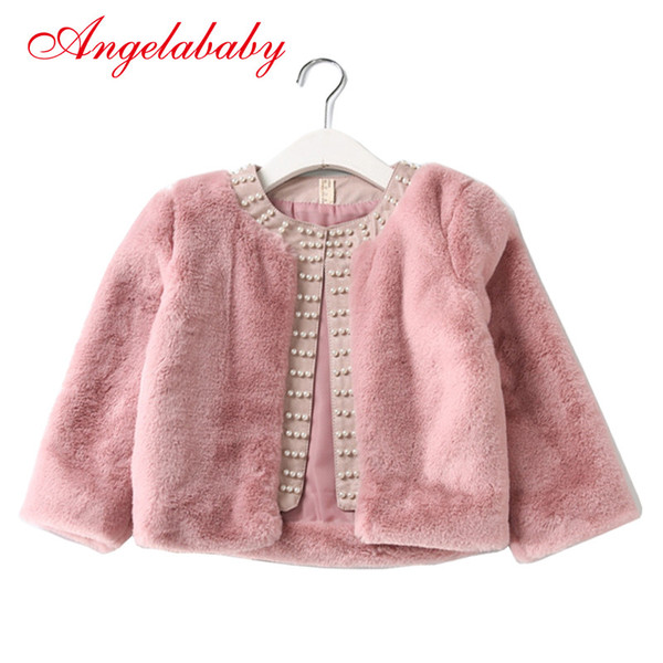 Baby Girls Jacket 2017 New Winte Real Plush Faux Fur Cotton Thicker Long Sleeve Party Wedding Caot for Girls Kids Clothing
