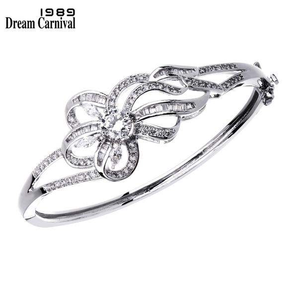 DreamCarnival1989 Schlank Stil Blume Form Geschenk für Liebhaber Luxus Armband Kanal Set CZ Top Qualität Bankett Schmuck Dame YB0663
