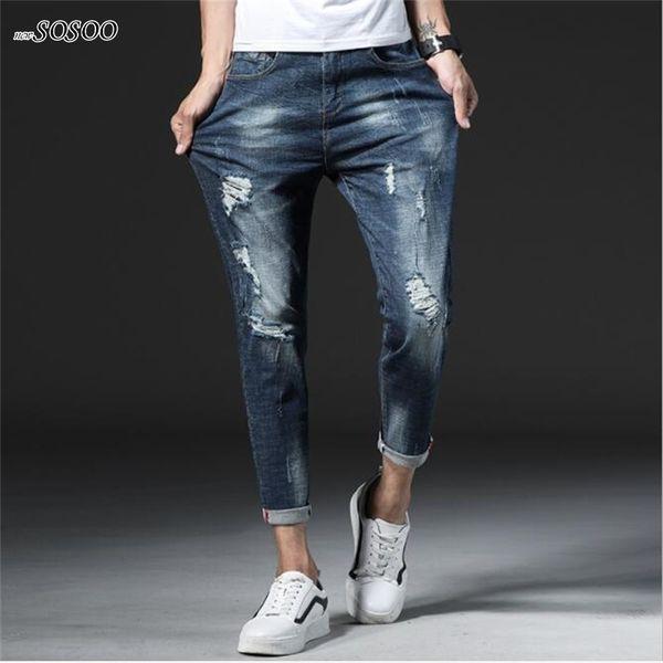 New man jeans blue ripped slim fit classic Pencil pants men fear of god fashion Korean style jeans men #903