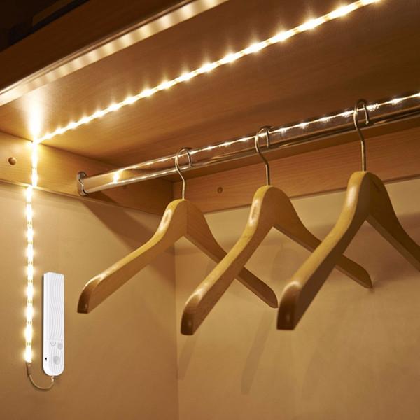 Lampe de détecteur de mouvement sans fil Bande LED sous la lumière du lit Sous la lumière du meuble 1M 2M 3M Veilleuse Placard Garde-robe Escalier Lumière de porte (blanc chaud)