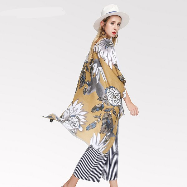 Autumn And Winter Scarves For Women Vintage Ethnic Scarf Satin Print Dream Catcher Women Casual Accessories Design Shawls Scarf