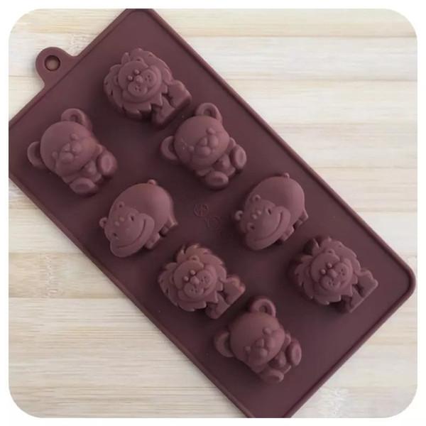Silicone Cake Mould DIY Bear Lion Hippo Type Multi Function Chocolates Ice Lattice Baking Decorate Tool Hot Sale