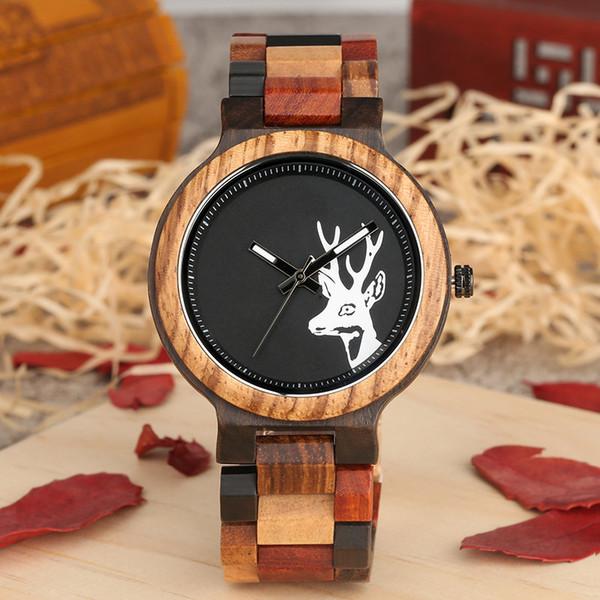Unique Mixed Color Wood Watch Men Creative Deer Head Elk Clock Man Retro Full Wooden Wrist Quartz Watch Top Luxury Men's Watches