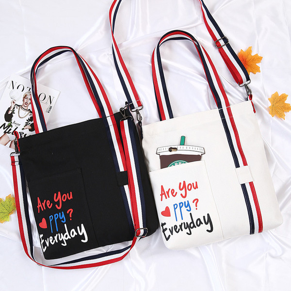 2018 new summer diagonal single shoulder canvas bag small fresh arts student bag printed shopping bag