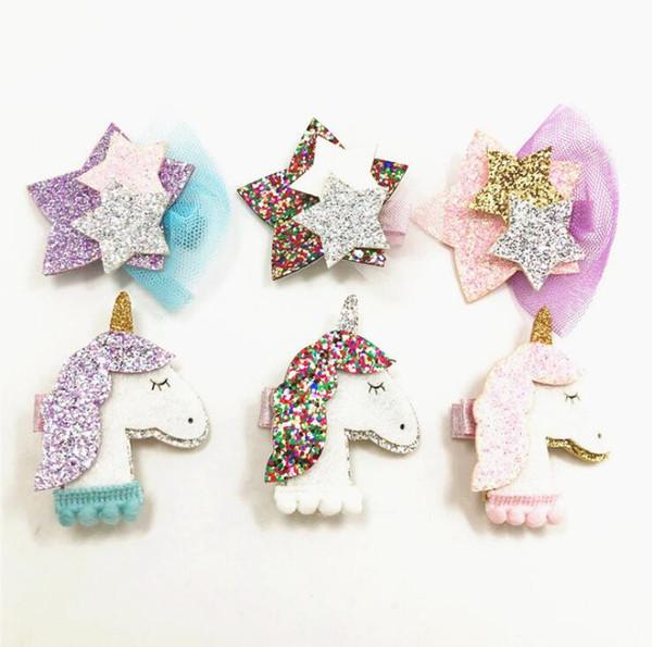 Rhinestone Hair Jojo With Clip For School Baby Children Large Sequin Unicorn Mermaid 6 Style For valentines Hairpin pink purple stars gauze