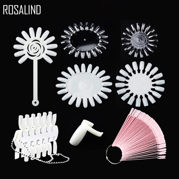 ROSALIND False Nail Tips Color Card Transparent White Buckle Ring Nail Art Practice Display Tools Manicure Tool 16 Patterns
