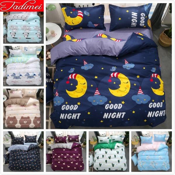 Blue Night Moon Stars Duvet Cover 3/4 Pcs Bedding Set Kids Child Student Boy Girl Soft Cotton Bed Linen Single Twin Size 150x220