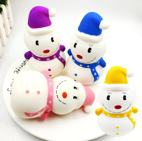 New Fashion Colorful Squishy Christmas Snowman Healing Squeeze Flexible Kids Toy Gift Stress Reliever Funny Decor