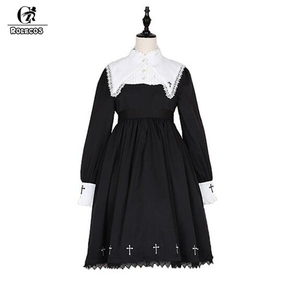 ROLECOS Steampunk Darkness Cross Dress For Women Gothic Lolita Nun Sister Lace Long Sleeve Dress Cross Embroidery Cosplay