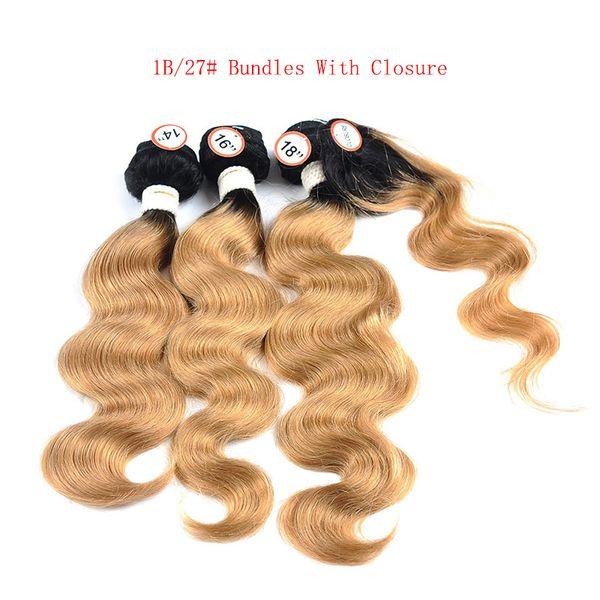 T 1B 27 Dark Root Honey Blonde Body Wave Ombre Armadura de cabello humano 3 Bundles con cierre de encaje Peruvian Virgin Hair Extensions Weft