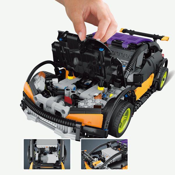 Blue small gun electric remote control sports car children assembled building blocks toys