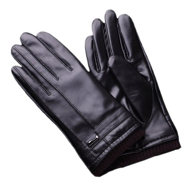 Winter Warm Pu Leather Men Gloves Black Fashion Touch Screen Soft Male Outdoor Gloves Mittens Shipped With Gift Box Type JY01