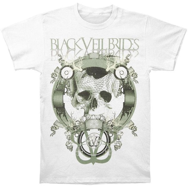 Black Veil Brides Men's Skull Net Slim Fit T-shirt Medium White Rockabilia Printed T Shirt Short Sleeve Men PrintSummer Style