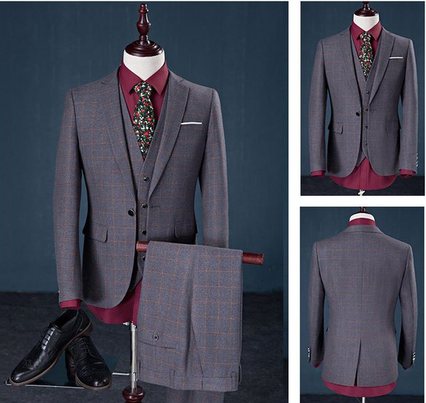Wedding Sposo Vestito Con Pantaloni Smoking Per Gli Uomini Wedding Abiti Prom Migliore Vestito Dell'uomo pant suit (Jacket + Pants + Bow)
