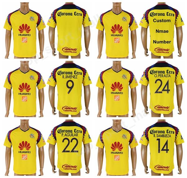 2373b521ed4 ... 9 Raul Jimenez 14 Rubens Sambueza. Club America Football Shirt 2018  2019 Liga MX Mexico Soccer 22 Paul Aguilar Jersey Men 24