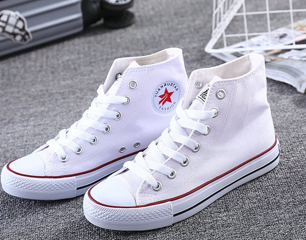2018 hot ladies breathable lightweight casual shoes high canvas shoes classic casual skateboard canvas shoes, black and white blue