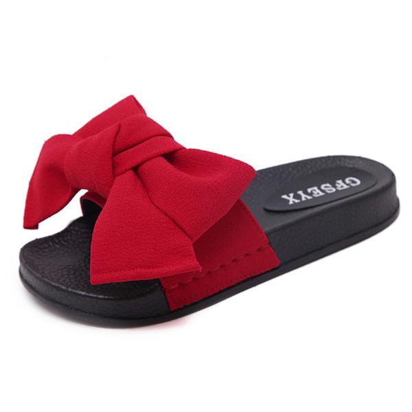 Bow Slides Women Summer Bowknot Beach Shoes Woman Female Slippers Flats Platform Comfort Flip Flops Ladies Sliders Shoes