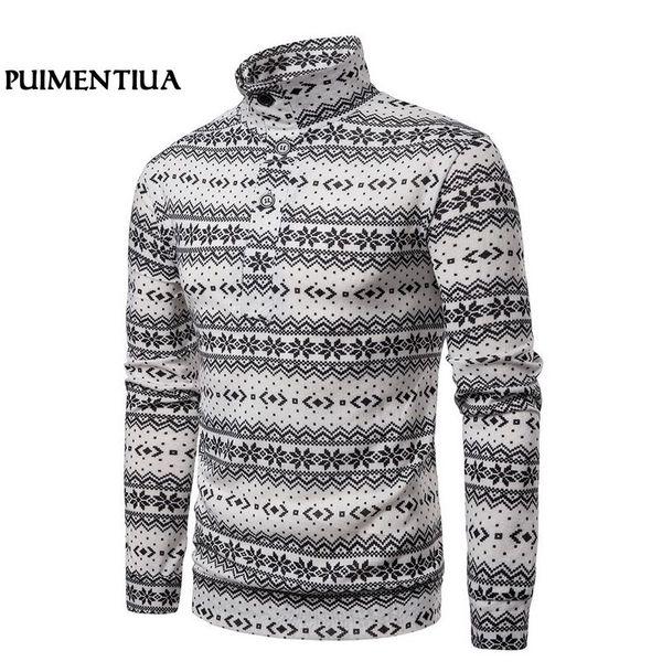 Puimentiua Snowflake Print Men Knitted Sweater Christmas Turtleneck Pullover Long-sleeve Patchwork Autumn Winter felpa uomo