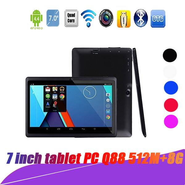 top popular Top sell tablets wifi 7 inch 512MB RAM 8GB ROM Allwinner A33 Quad Core Android 4.4 Capacitive Tablet PC Dual Camera Q88 A-7PB with package 2019