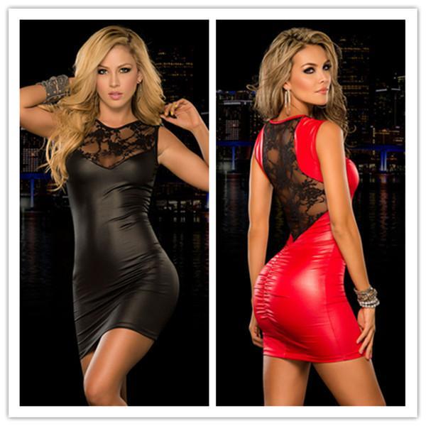 Preto Vermelho M XXL Plus Size Sexy Fetiche Bondage Vestidos de Látex Rendas Pólo de Dança Traje Boate Mulheres PVC Lingerie Sexo Lingerie Y18102206
