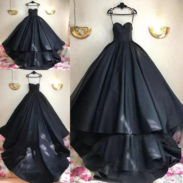 Gothic Black Design Ball Gown Prom Dresses 2019 Plus Size Sweetheart Matt Satin Tulle Arabic Dubai Country Evening Gowns Vestido De Novia