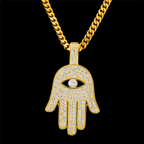 Hiphop Hamsa Hand Eye Pendant Necklace For Men Fashion Women Ice out 18K Gold Plated Bling Cubic Zirconia Hip Hop Jewelry Necklaces