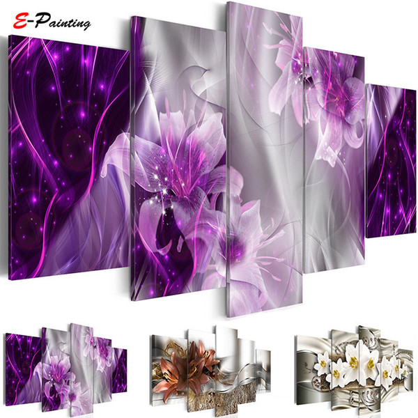Modern Painting Canvas 5 Pieces Wall Art Abstract Decor Lily Flowers Modular Pictures for Living Room Bedroom Prints