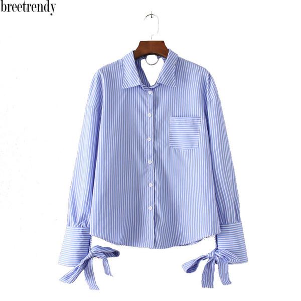 CS660 Breetrendy женщины синий полосатый один карман лук узел рукава рубашки дамы короткий длинный рукав повседневная блузка blusas топы