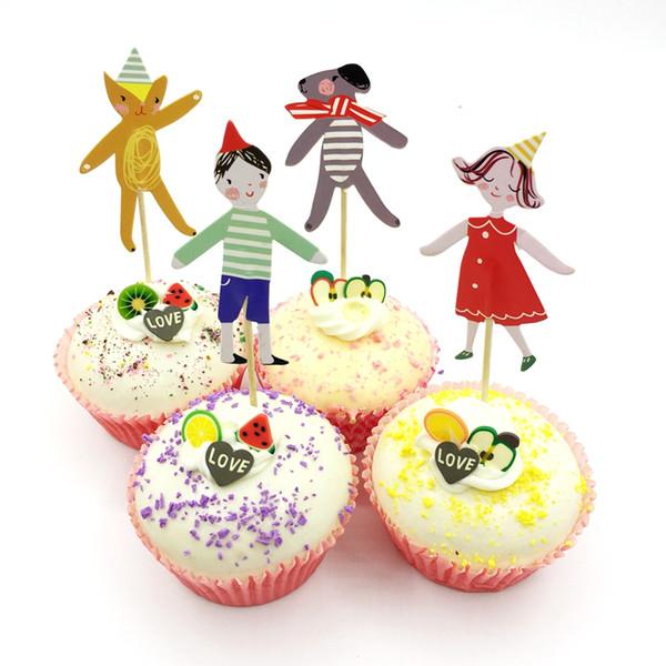 720pcs Cartoon Boy Girl Pet dog Cupcake toppers Picks Cake Decorations Baby Shower child favor Birthday Wedding Party Supplies