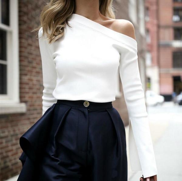 Sweat-shirt femme blanche hors épaule Slash Neck Sexy Top Split manches longues femmes t-shirts vêtements coréens