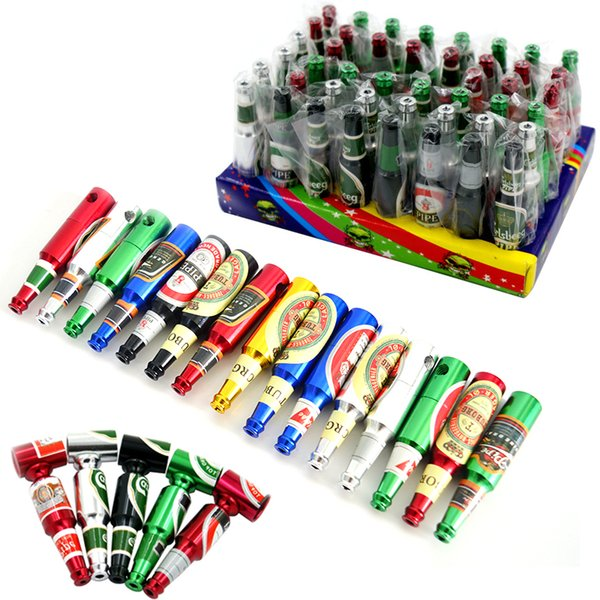 Mini Beer Bottle Metal Pipes Creative Hand Oil Burner Smoking Pipes 68mm Portable Tobacco Pipes Best Gift For Smoker 48pcs/box