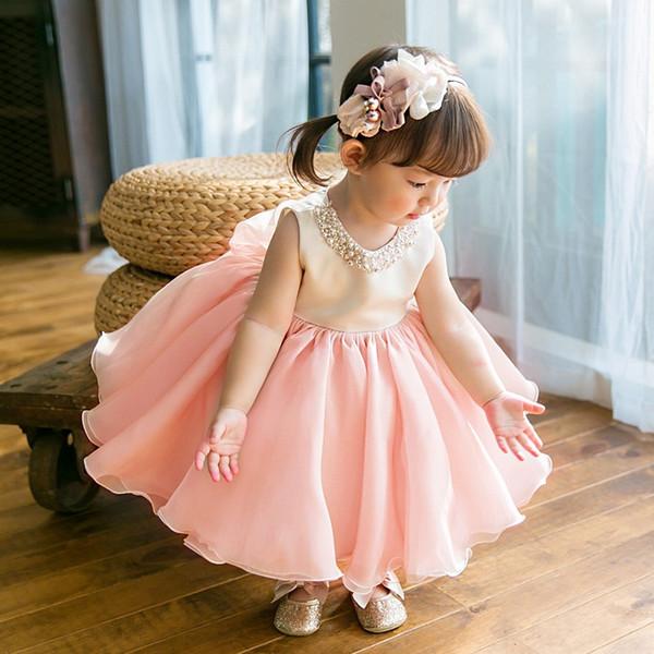 Vestito da bambina di alta qualità Vestito da battesimo in chiffon rosa per bambina da 1 anno Compleanno per abiti da battesimo 6-24M